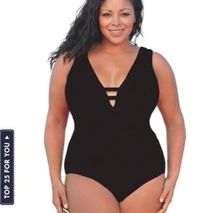Always For Me Black Plus Size V-Plunge swimsuit